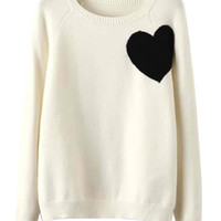 White Heart Pattern Long Sleeve Knitted Sweater
