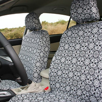 Car seat covers, B&W mandalas, made of thick jersey fabric (pair of covers for adult front seat)