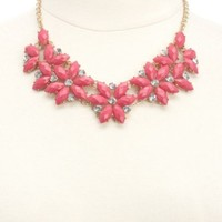 Faceted Stone Flower Bib Necklace