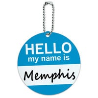 Memphis Hello My Name Is Round ID Card Luggage Tag