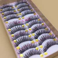 Handmade False Eyelashes Thick Black Cotton Stretch Fake False Eyelash Lashes Makeup Tips Natural Fake Eye Lashes Q3
