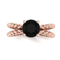 Black Diamond Engagement Ring, Rose Gold, Promise Ring, Solitaire, Right Hand Ring, RE00115