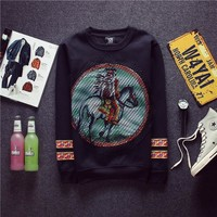 Lace Korean Round-neck Pullover Hoodies Men's Fashion Shirt Jacket [6541168835]