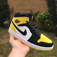 Nike Air Jordan 1 Mid Yellow Toe Black Basketball Shoes Sneakers Shoes