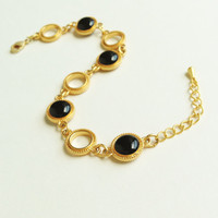 Black Bracelet, Black Resin Disc Bracelet with Gold Chain, Black and Gold Bracelet, Resin Jewelry For Her