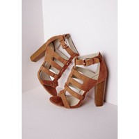 Missguided - Gladiator Heeled Sandals Tan Faux Suede