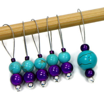 Beaded Stitch Markers, Snag Free, DIY Knitting Supplies, Purple, Turquoise, Gift for Knitter, Craft Supplies, TJBdesigns
