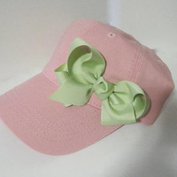 Youth Toddler Pink Baseball Cap with Mint Green Grosgrain Bow Toddler Hats Girls Hats Toddler Baseball Caps Girls Accessories
