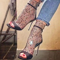 New Glitter Gladiator Air Mesh Sexy Sandals Shoes Woman High Heel Peep Toe Stripper Zipper Party Thin Heels Pumps