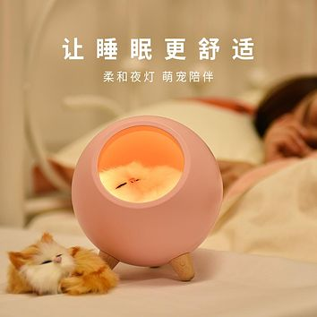 Cute Little Of Pet Cat House Small Night Light Cat Sleep With The Light Of The Head Of A Bed Usb Charging Light Cat Light Touch Atmosphere