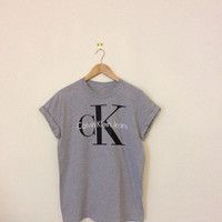 classic grey oversize slouchy sexy calvin klein ck swag style top tshirt fresh boss dope celebrity festival clothing fashion urban unqiue