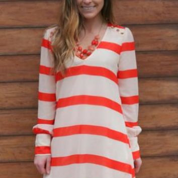 Orange and White Striped Long Sleeve Dress with Open Back