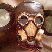 The Post Apocalyptic Steampunk Mickey  gas mask LARP burning man Leather