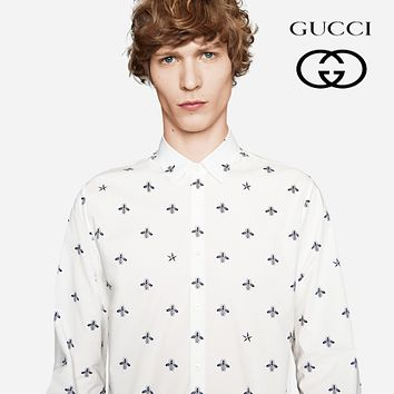 GUCCI Fashionable Men Women Leisure Cute Bee Print Long Sleeve Polo Shirt Top