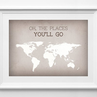 Oh the places you go printable world map - world map - travel poster - Typography Wall Art - Brown - world map poster, ALL SIZES, A3