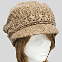 Tan Knitted Winter Beanie Hat