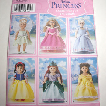 New Simplicity Pattern Disney Princess costumes for 18 inch dolls American Girl dolls Snow White Cinderella Belle Ariel Tinkerbell