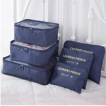 6 Piece Nylon Travel Bag System Packing Cube