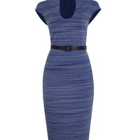 Casual Band Collar Office Slit Striped Bodycon Dress
