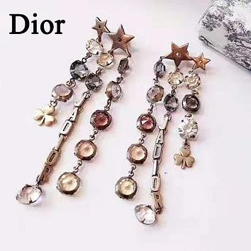 Dior Newest Fashion Women Chic Diamond Tassel Pendant Earrings Accessories Jewelry