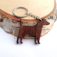 Wooden Jack Russell Terrier Keychain, Animal Keychain, Dog Keychain, Walnut Wood, Pet Keychain, Environmental Friendly Green materials