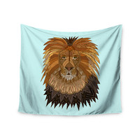 """Art Love Passion """"Lion"""" Blue Brown Wall Tapestry"""