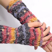 Steampunk gloves,  crochet armwarmers, long lace fingerless gloves, striped in black, red, orange and grey, wool driving gloves