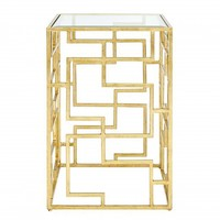 Nikko Square Oriental Iron Side Table, Gold Leaf - Accent Tables - Furniture