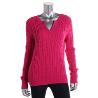 Charter Club Womens Petites Cable Knit Long Sleeves Pullover Sweater