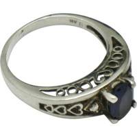 Signed STERLING SILVER 925 Deco Style Filigree Sapphire Diamond Paste Ring