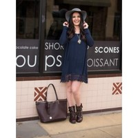 Purely Simple Lace Dress - Navy