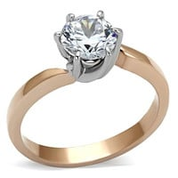 Rose Gold & Silver 6 Prong Solitaire CZ Stainless Steel Engagement Ring