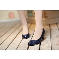Women High Heels Dress Shoes Embossed Leather Pumps 3514