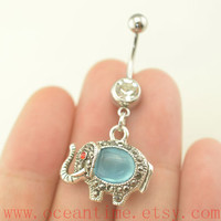 Elephant Belly Button Rings,opal belly ring,lucky belly button rings,elephant belly ring,opal navel ring,oceantime