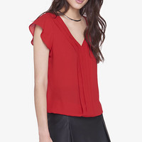 Pleated Flutter Sleeve Blouse from EXPRESS