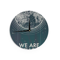 "Sam Posnick ""We Are Without Limits"" Blue Typography Wall Clock"