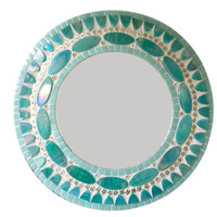 Teal Mosaic Accent Mirror with Flowers