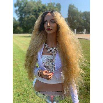 Donna Natural Hair Wig, Ombre' Light Blonde Waves 919 1