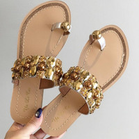 Women Summer Fashion Sequins Diamond Open Toe Stud Flats Toepost Slipper Sandals