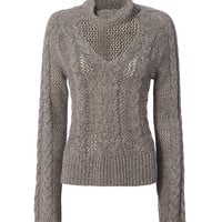 Exclusive for Intermix Carmen Collared V Neck Braided Sweater - INTERMIX®