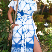 Blue Tie Dye Off Shoulder Boho Dress