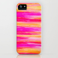 Welcome to Funky Town - Disco Inferno Dance Party Bold Rainbow Stripes Abstract Watercolor Painting iPhone Case by EbiEmporium | Society6