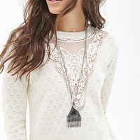 FOREVER 21 Cropped Crochet Sweater Beige