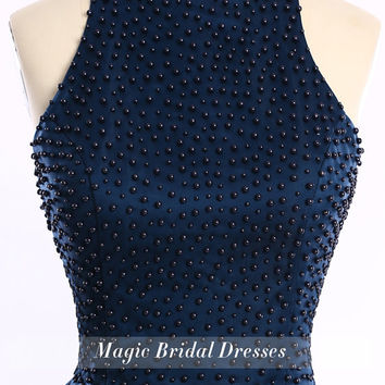 Popular Graceful Tank Style off the shoulder Women Prom Dresses with Black Pearls Sexy Keyhole Back Design Fashion Navy Blue Short Dresses