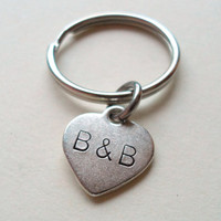 Couples Initials Keychain, Couples Key Rings, Initials Heart Tag Personalized, Girlfriend Boyfriend, Husband Wife, Best Friends
