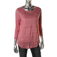 Marc by Marc Jacobs Womens Melange Linen Blend Burnout Casual Top