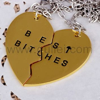 Engraved Best Bitches Heart Necklace Set for 2