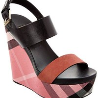 BURBERRY House Check, Leather & Calf Suede Platform Wedge, 40
