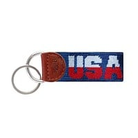 USA Needlepoint Key Fob in Classic Navy by Smathers & Branson