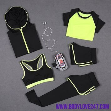 5 PCS Women Yoga Set for Running/ Fitness Suit Set